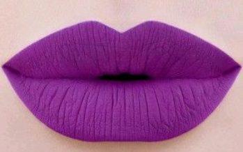 Lip makeup in purple colors