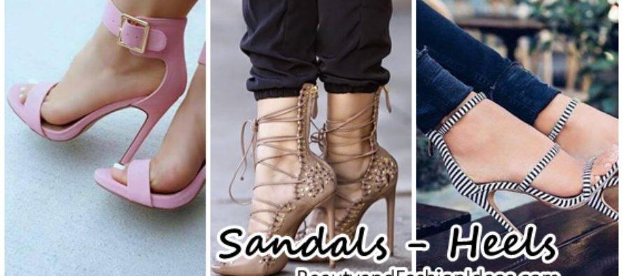Hermosas sandalias con tacones