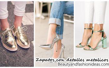 Modelos de zapatos con detalles metálicos
