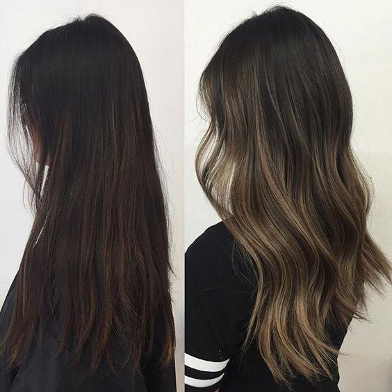 Ideas de mechas balayage cenizasen cabello oscuro (2)