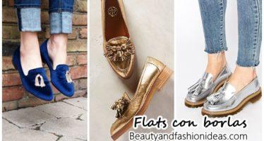 Flats y zapatos de piso con borlas tendencia 2017
