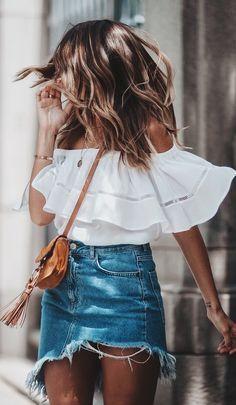Outfits con faldas de mezclilla para el verano 2017