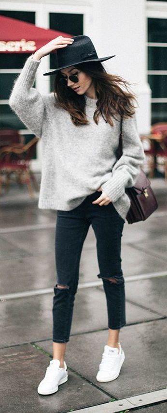 Outfits con gorrito o sombreros para otoño - invierno 2017