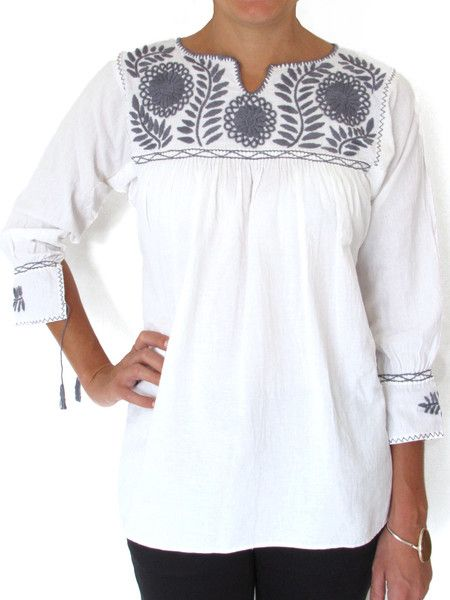 Blusas bordadas estilo mexicano blancas5