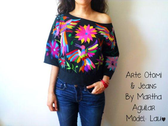 Blusas bordadas estilo mexicano coloridas3