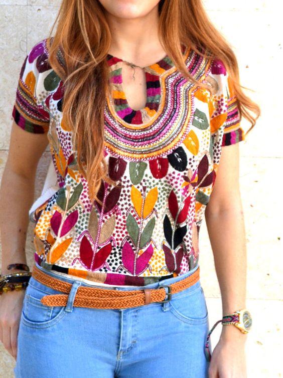 Blusas bordadas estilo mexicano coloridas4