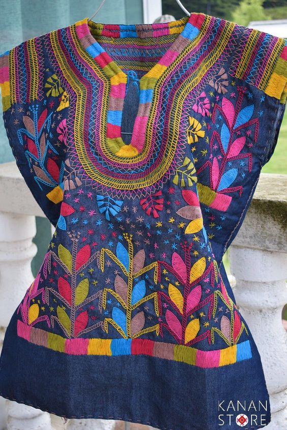 Blusas bordadas estilo mexicano coloridas5