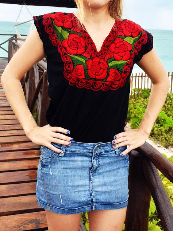 Blusas bordadas estilo mexicano negras5
