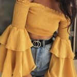 blusas y tops en color amarillo