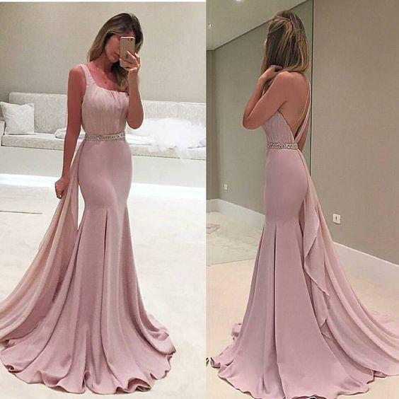 vestido de graduacion color rosa palo