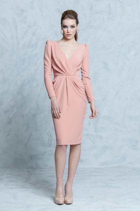 Vestidos Cortos Elegantes En Color Rosa Palo Beauty And