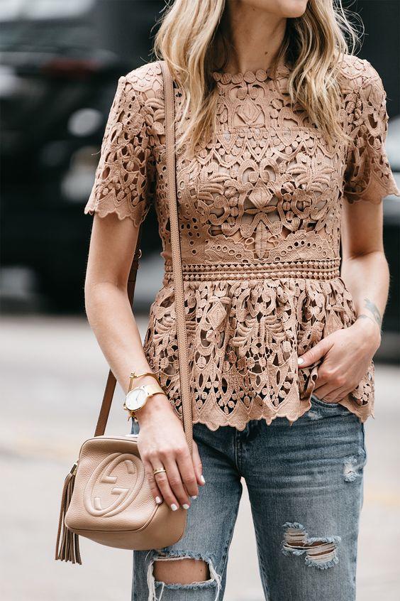 Blusas de encaje de moda
