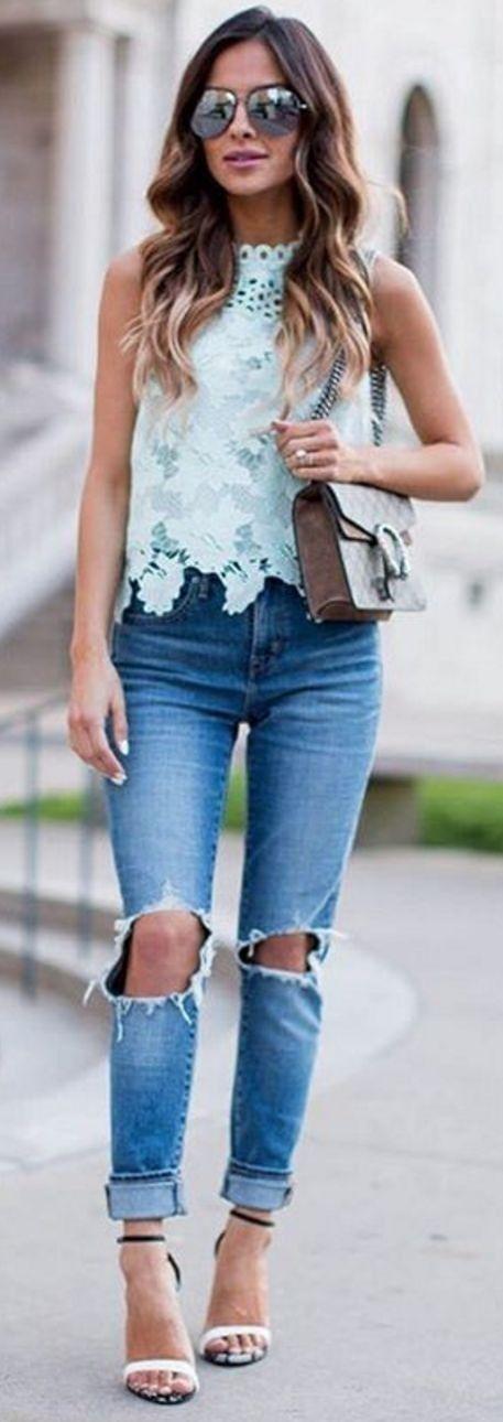 Blusas de encaje de moda por colores