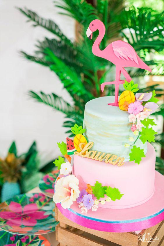 Fiesta de cumpleaños para mujeres con tema Flamingos