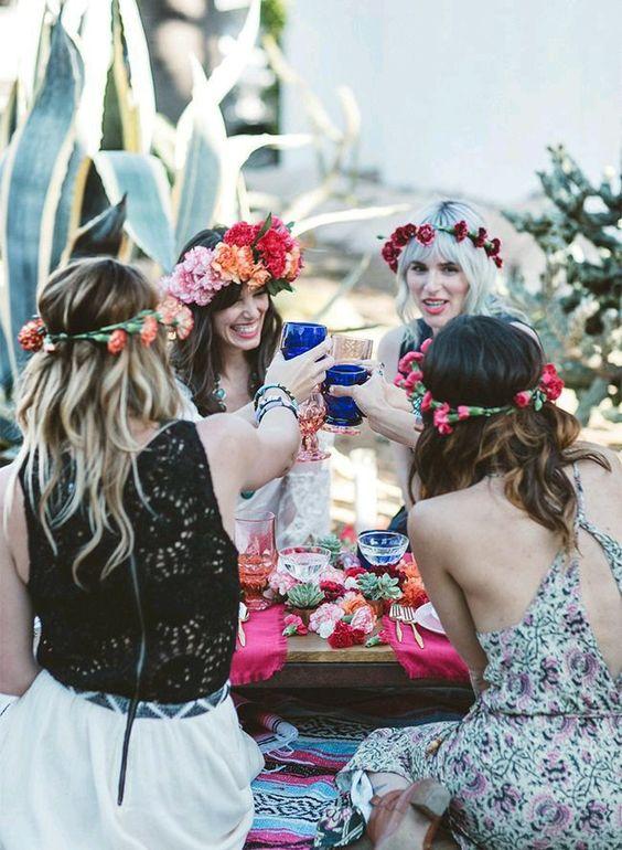 Fiesta para mujer con tema hippie